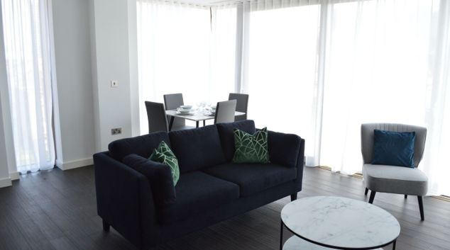 Living area at Royal Mint Apartments, Tower Hill, London