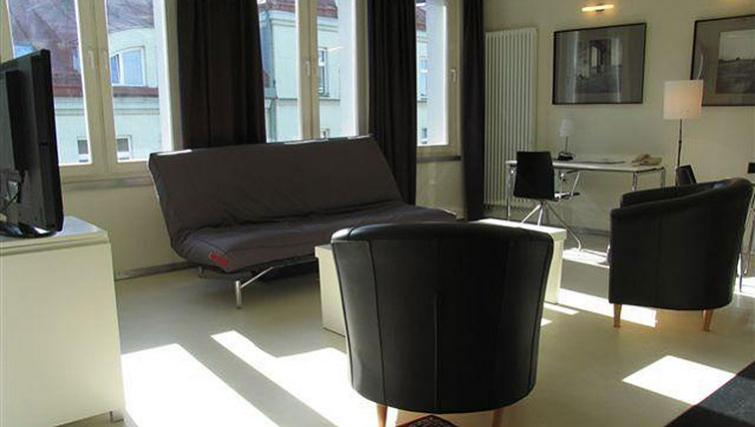 Contemporary living area in Kupa Apartments