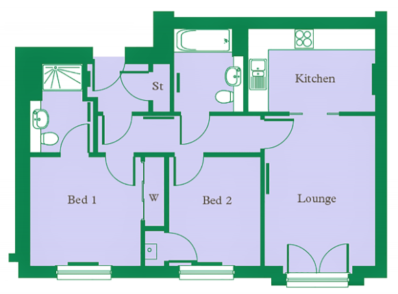 Floor plan 1 at Hedgefield Apartments, Centre, Inverness