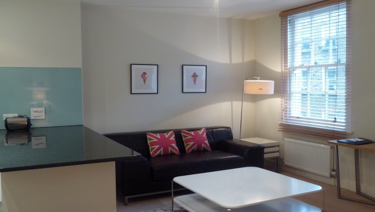 Spacious living room in South Molton Street Apartments