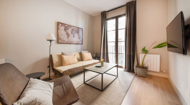 Living area at Gothic Headquarters Apartment, Gothic Quarter, Barcelona