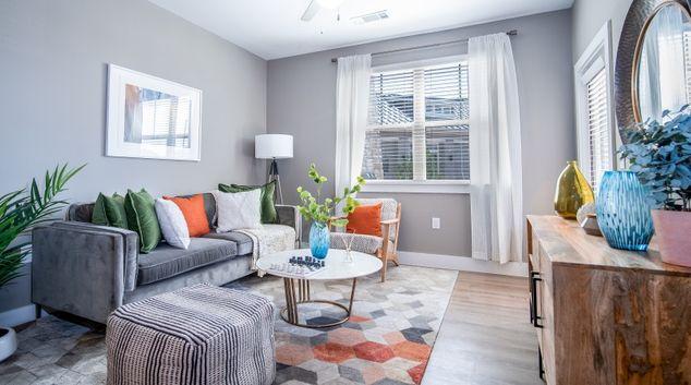 Living area at Woodford on Mockingbird Apartment, Adobe Meadows, Midland