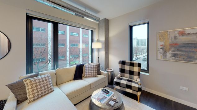 Living area at Milieu Apartments, Greektown, Chicago
