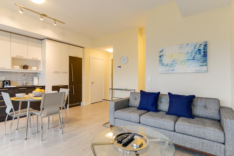 Living area at Nelson Street Apartments, Old Toronto, Toronto