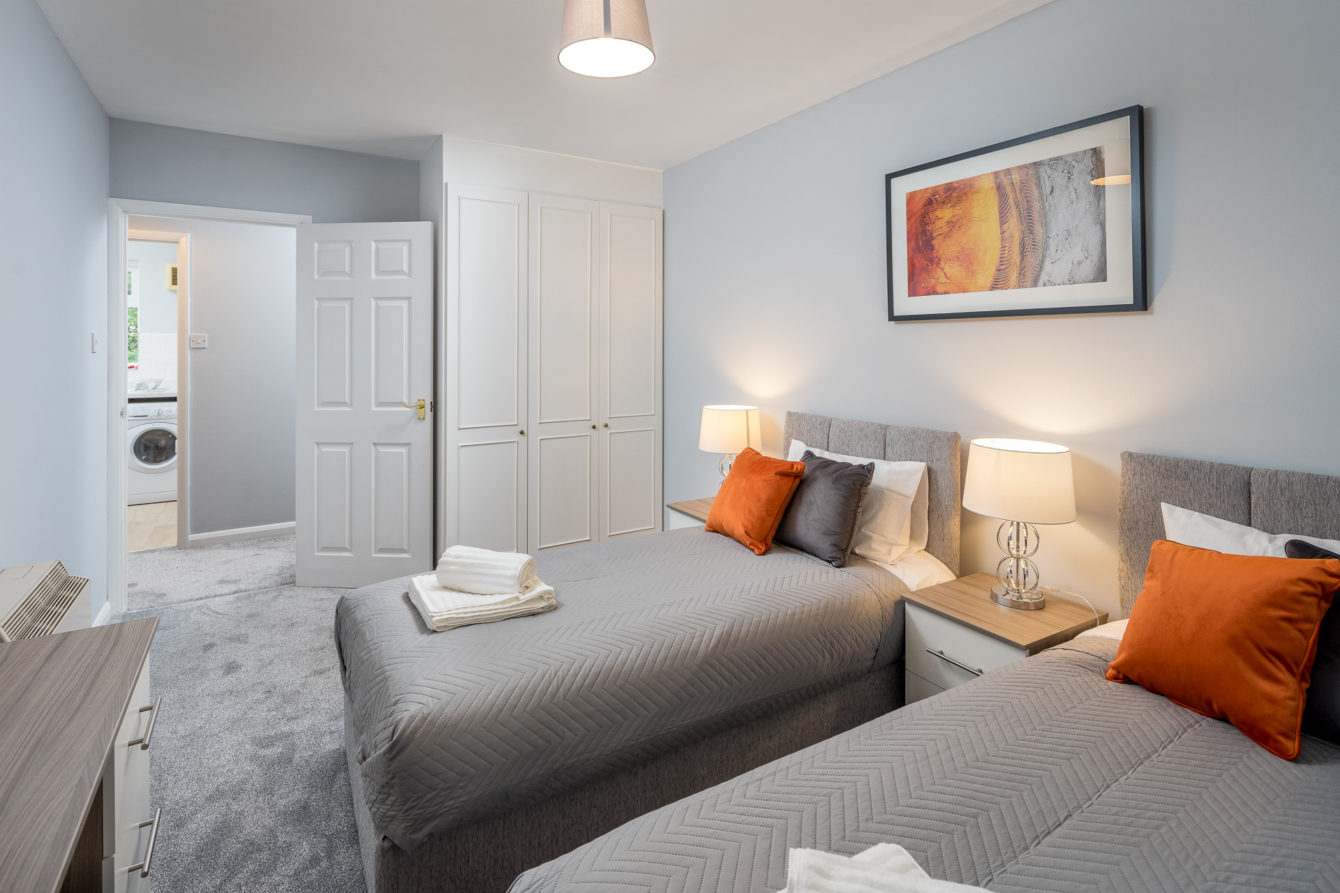 Twin beds at Crawley Centre Apartment, Southgate, Crawley