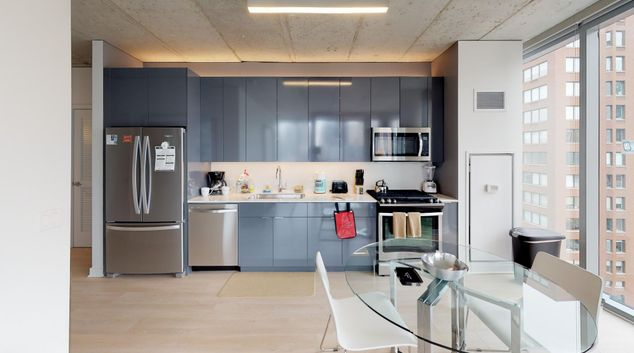 Full kitchen at 3Eleven Apartments, River North, Chicago