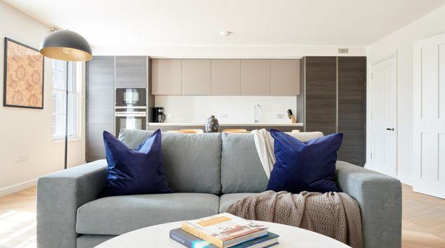 Living area at Sloane Square Apartments, Pimlico, London