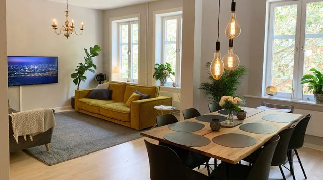 Living area at Torpgatan Apartment, Möllevången, Malmö