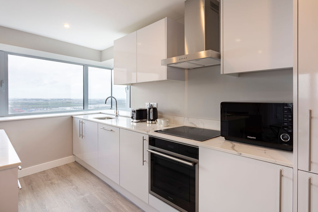 Modern kitchen at Dublin City Break Apartments, Santry, Dublin