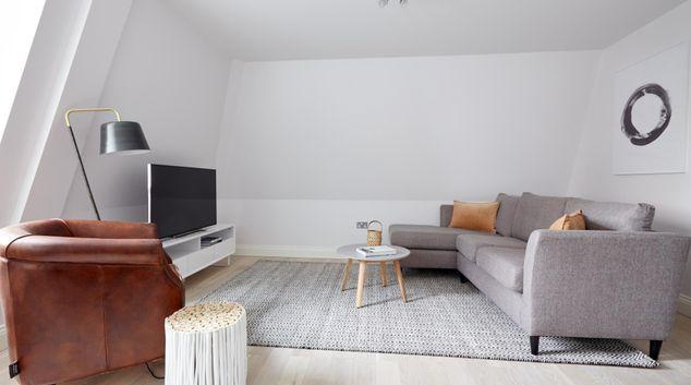 Living area at Virginia House Apartments, Fitzrovia, London