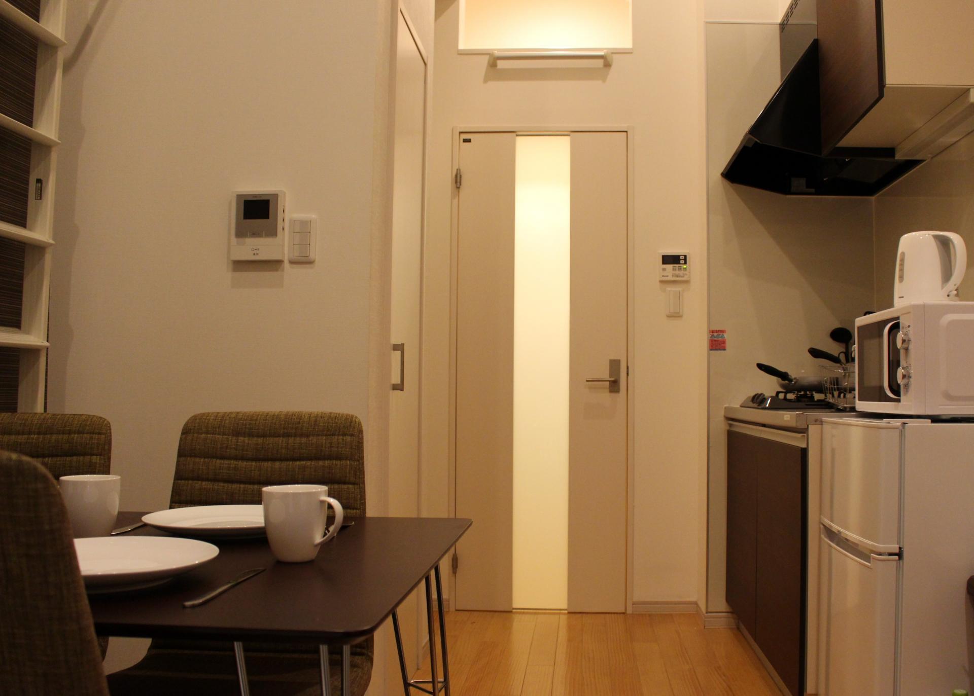 Kitchen dining area at Melodia Harajuku Apartments, Shibuya City, Tokyo