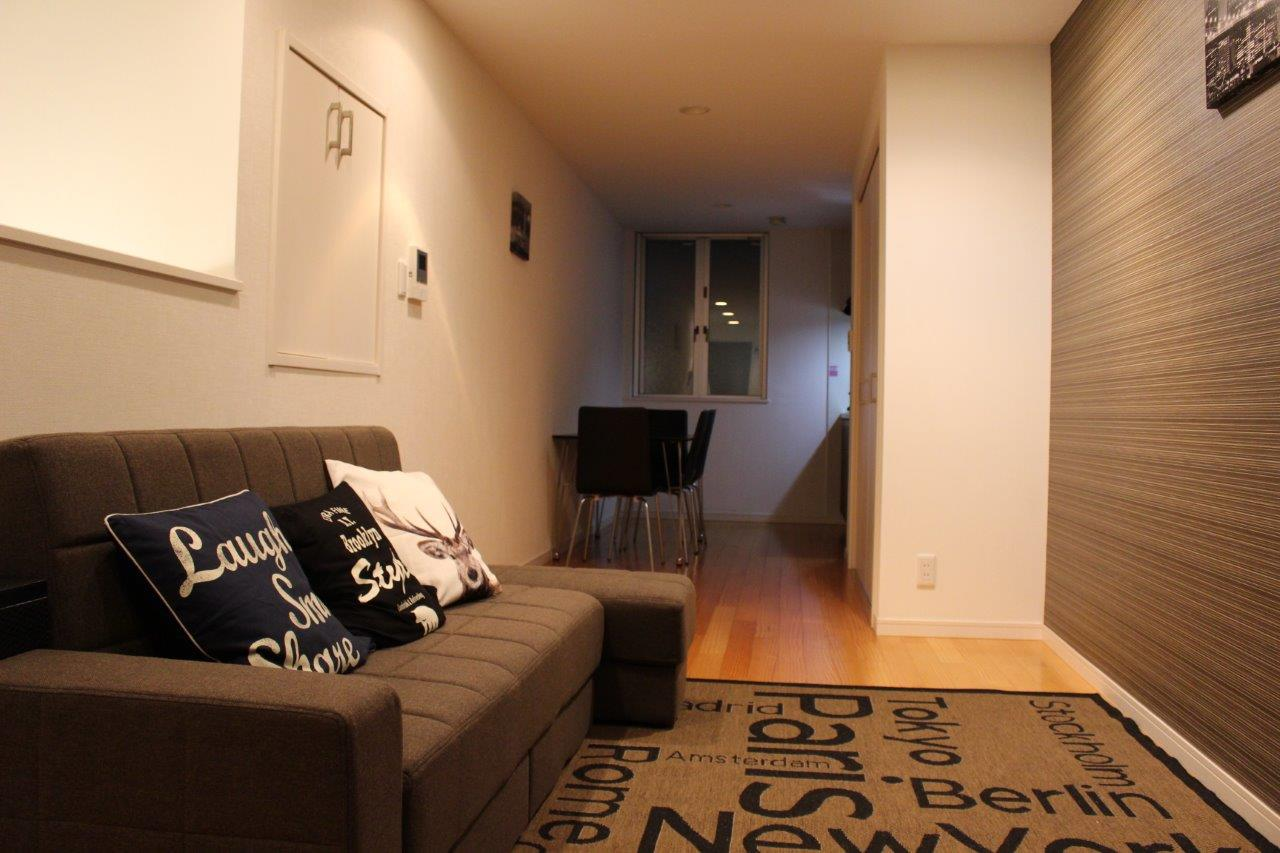 Sofa at Melodia Harajuku Apartments, Shibuya City, Tokyo