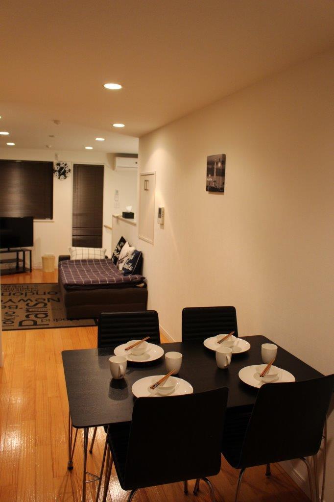 Open plan living area at Melodia Harajuku Apartments, Shibuya City, Tokyo