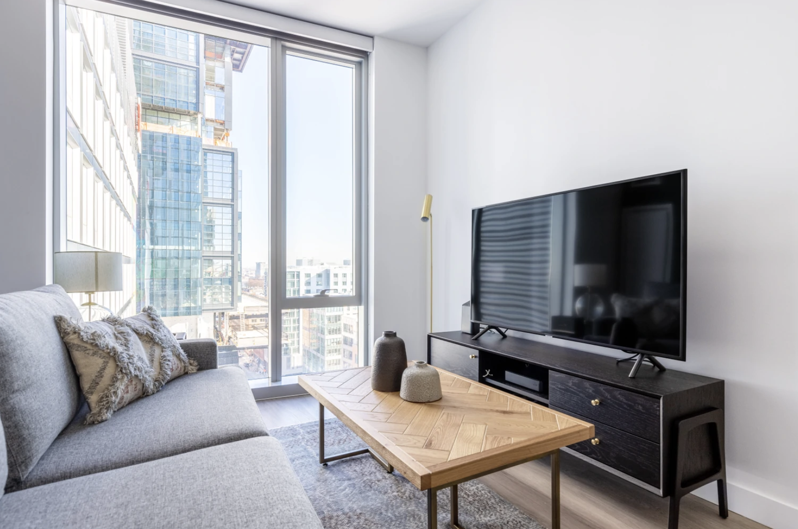 Living area at Hub50House Apartments, Centre, Boston