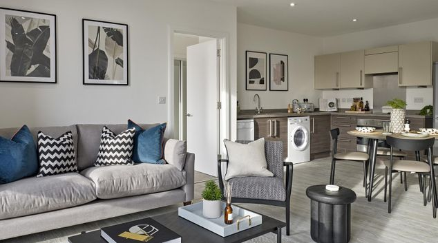 Living area at Manchester Media City Apartments, Centre, Manchester
