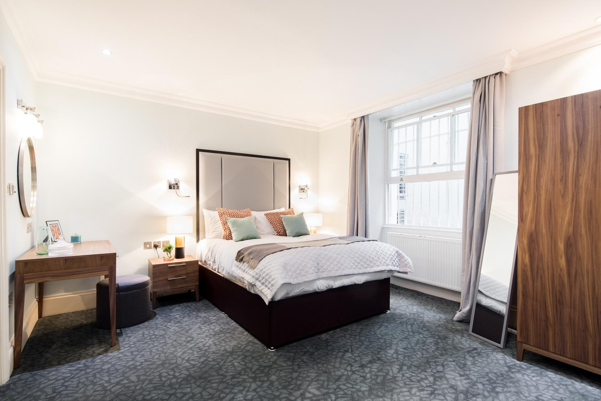 Light bedroom at 41 Lancaster Gate Apartments, Bayswater, London