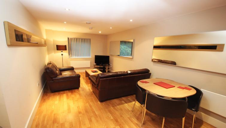 Living room at Merchants Quay Apartments