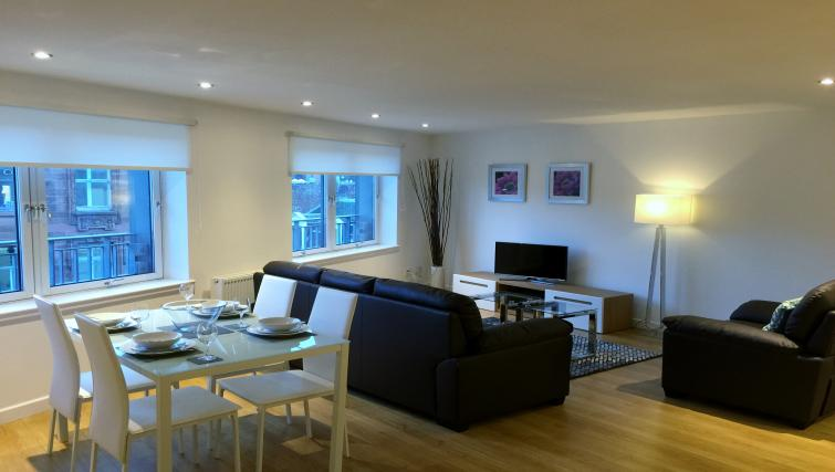 Open-plan living area at Tolbooth Apartments