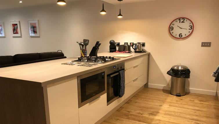 Kitchen island at Tolbooth Apartments