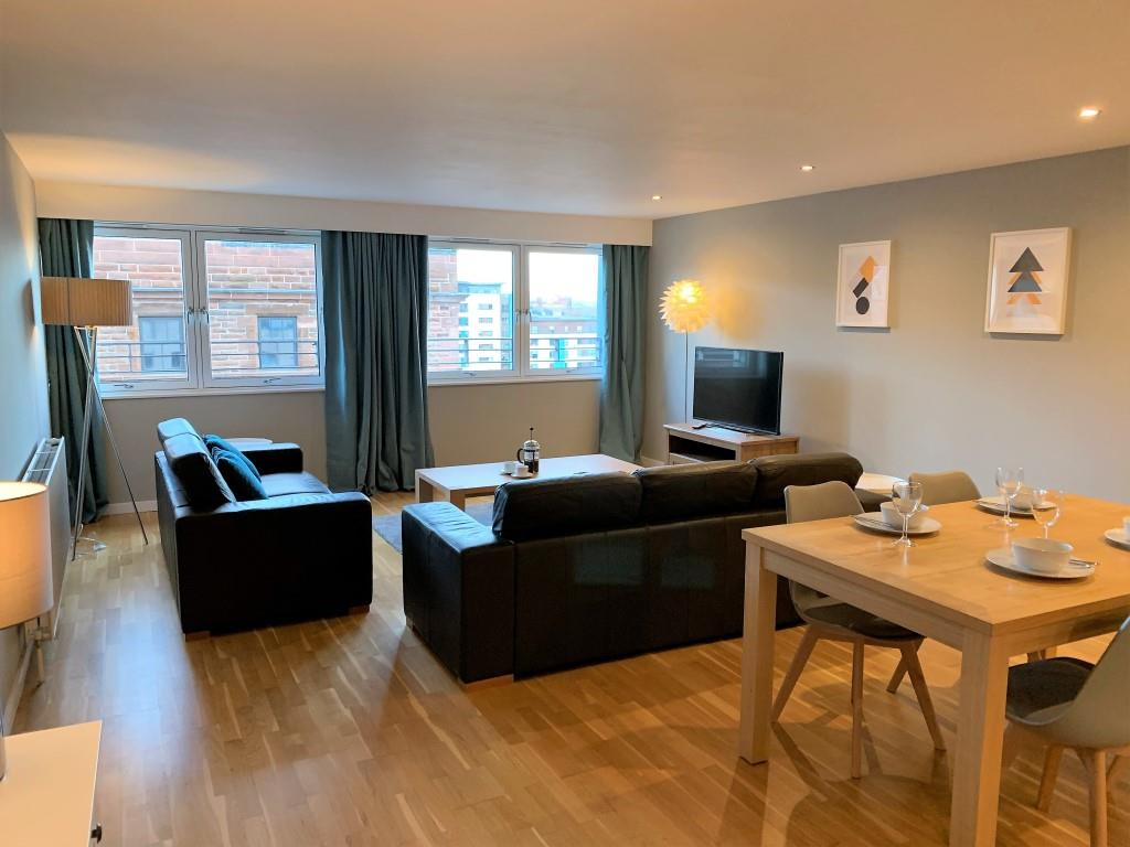 Spacious living area at Tolbooth Apartments