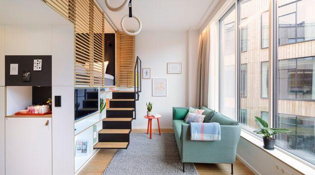 Living area at Zoku Copenhagen Apartments, København S, Copenhagen