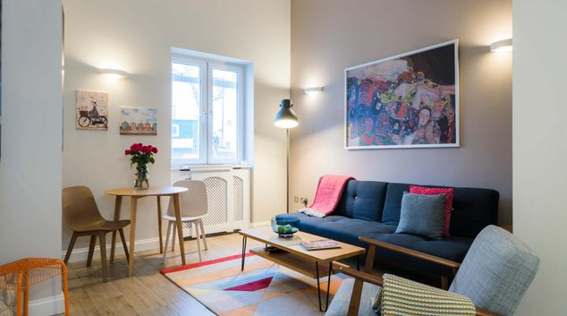 Living area at Westbourne Gardens Apartment, Bayswater, London