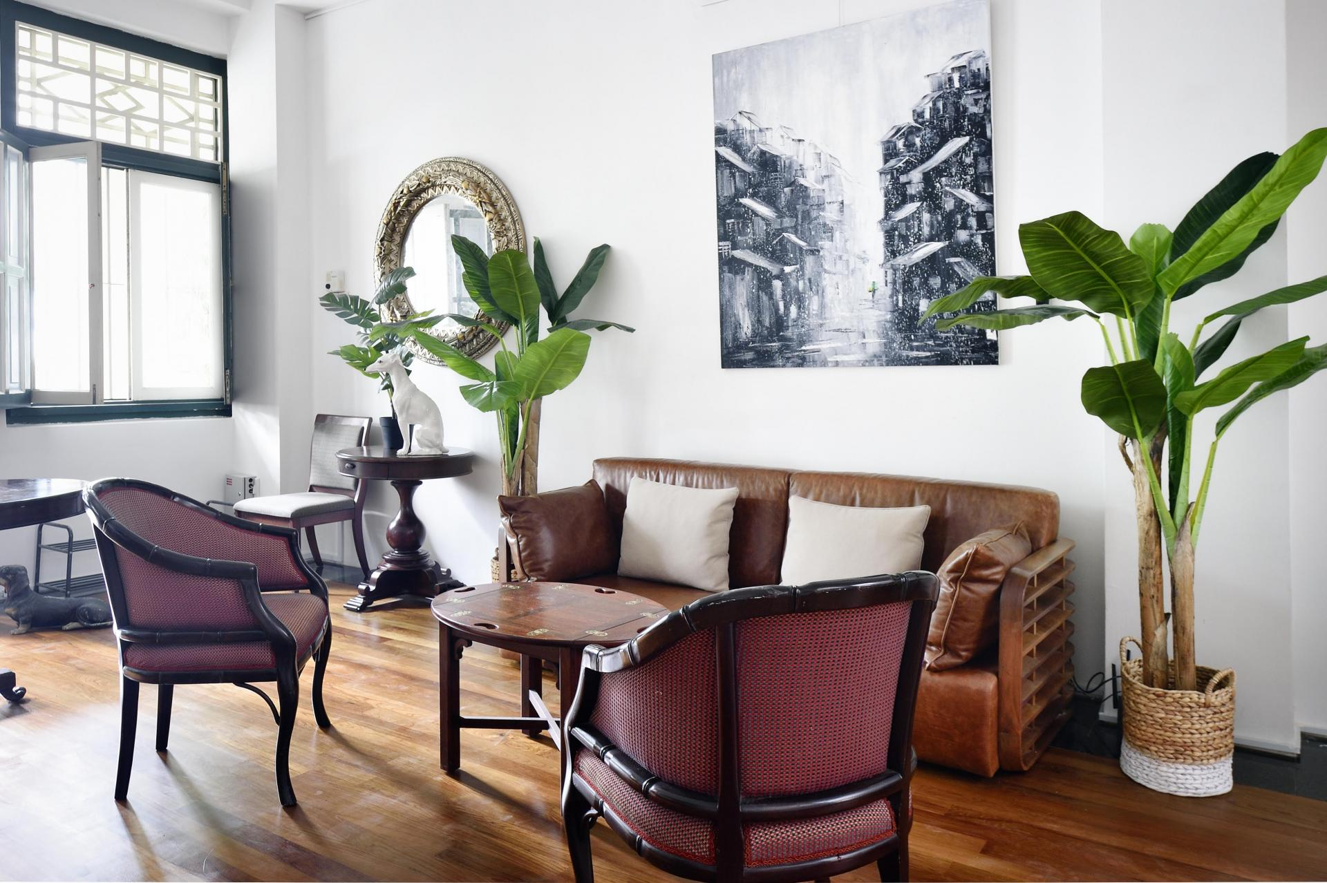 Living area at Cavenagh House Apartments, Kallang, Singapore