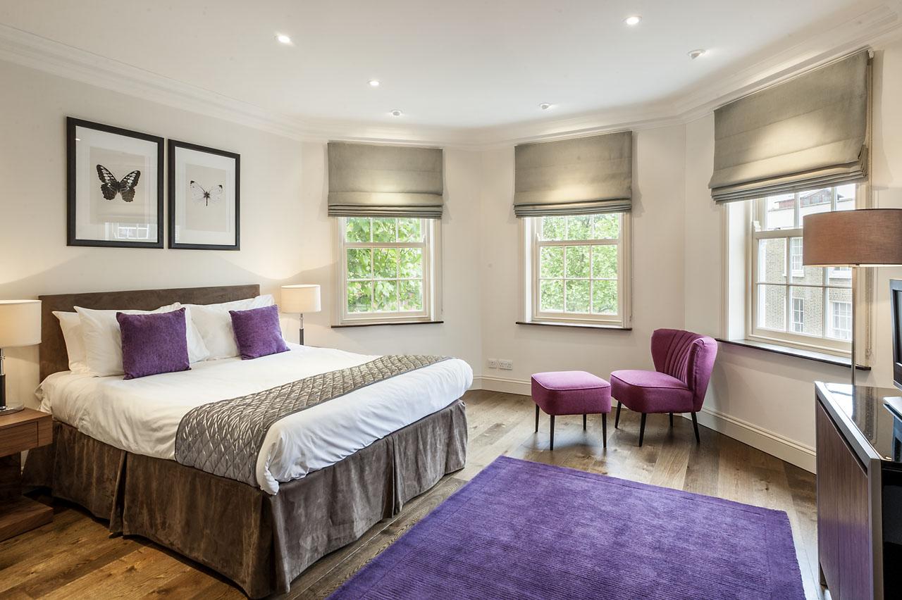 Bright bedroom at Chelsea- Sloane Avenue Apartments, Chelsea, London