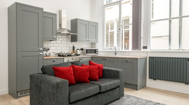 Living area at Sweeting Street Apartments, Centre, Liverpool