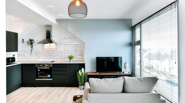 Living area at Colony Apartments, Centre, Swansea