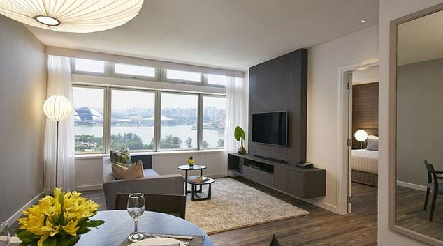 Cosy living area at PARKROYAL Serviced Suites Singapore