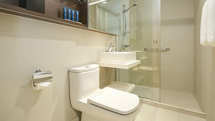 Shower and toilet at PARKROYAL Serviced Suites Singapore