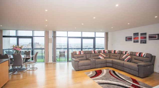 Living area at Lancefield Quay Apartment, Finnieston, Glasgow