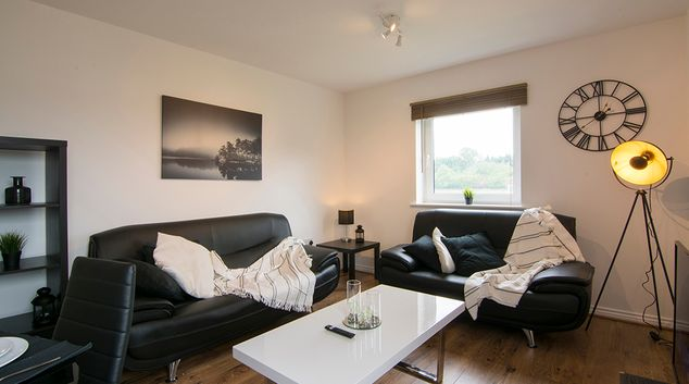 Living area at Calverly Apartment, Stoke Aldermoor, Coventry