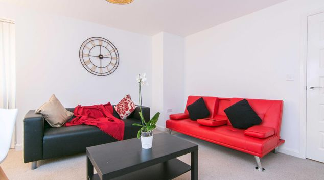 Living area at Quayside Court Apartment, Bishopsgate Green, Coventry