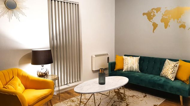 Living area at City Star Manchester Central Apartments, Ordsall, Manchester