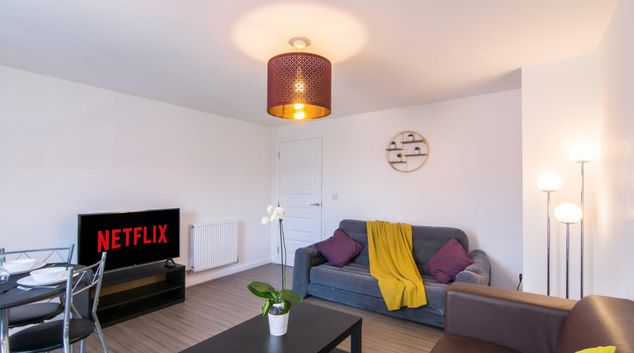 Living area at Foleshill Road Apartment, Bishopsgate Green, Coventry