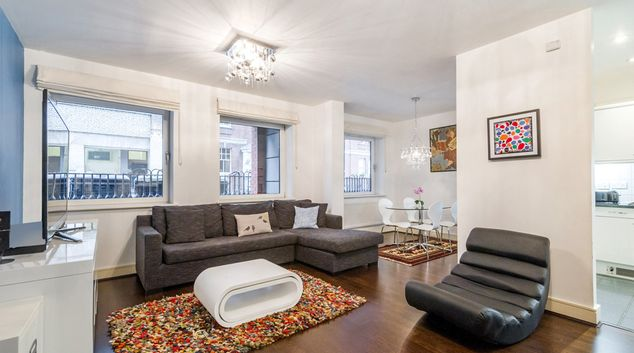 Living area at West One House Apartment, Goodge Street, London