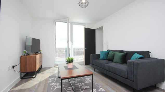 Living area at Kinetic Apartment, Old Trafford, Old Trafford, Manchester