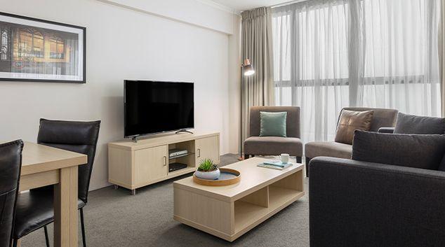 Living room at River City Brisbane Apartments, South Bank, Brisbane