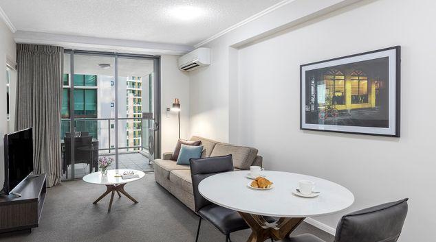 Living area at Oaks Brisbane on Margaret Suites, Centre, Brisbane