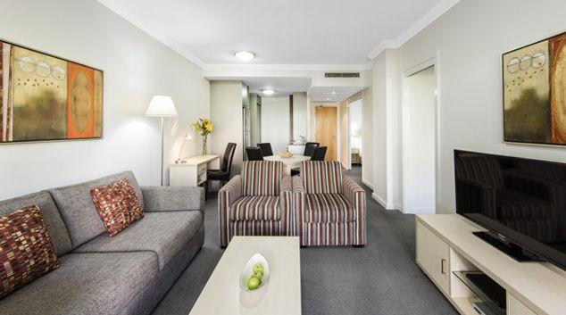Living area at Oaks Brisbane Mews Suites, Bowen Hills, Brisbane