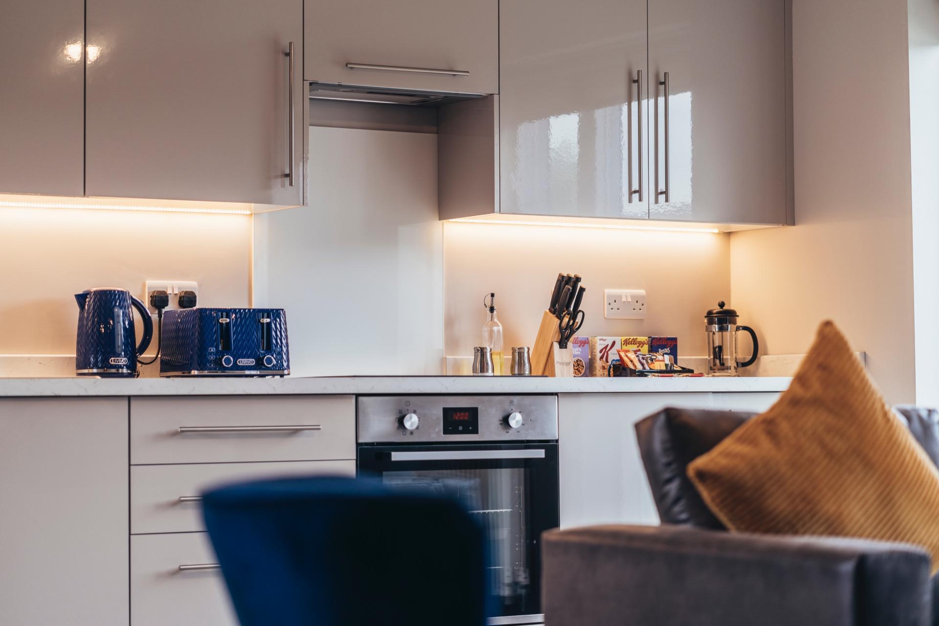 Equipped kitchen at Devonshire Court Apartments, West Bridgford, Nottingham