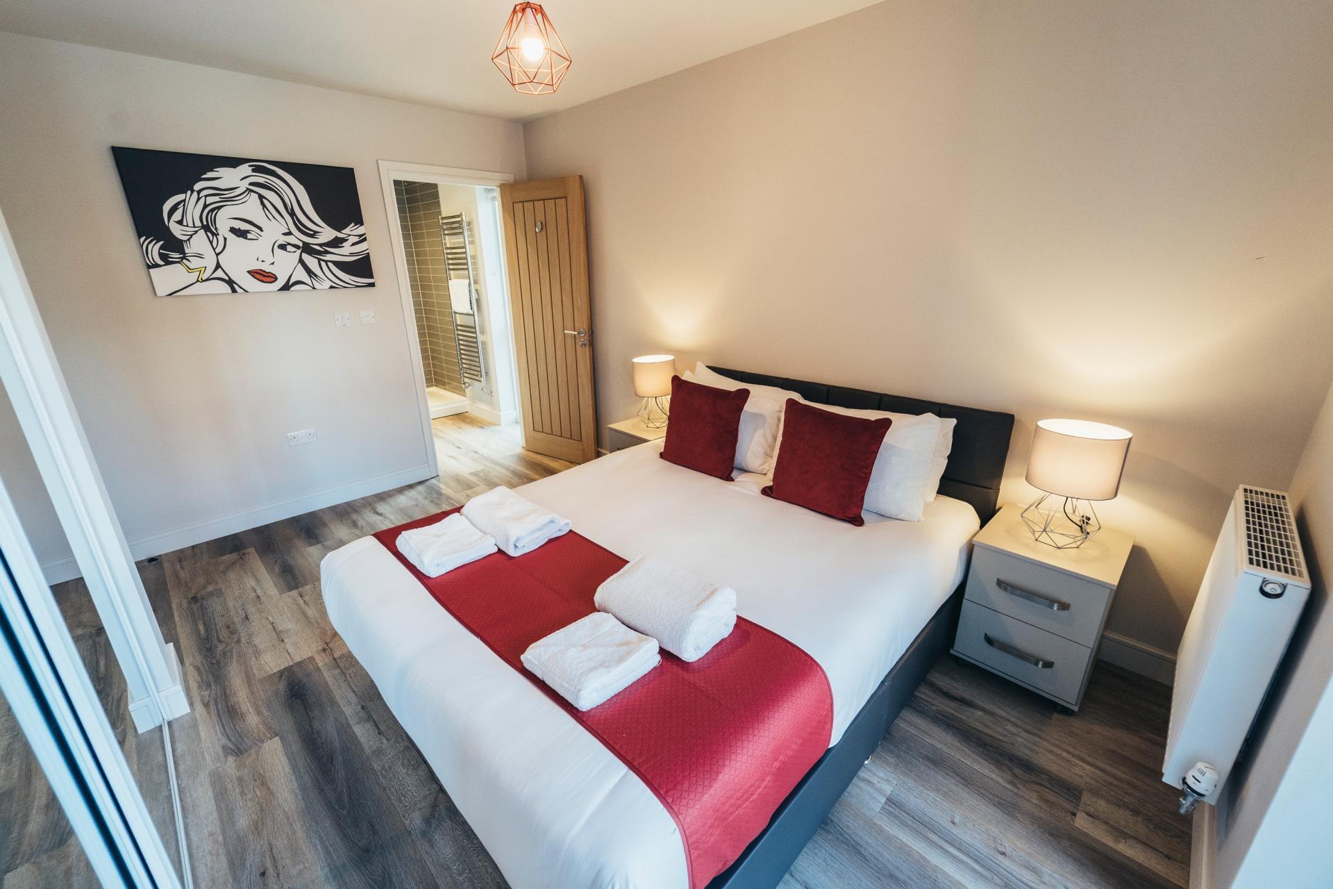 Spacious bedroom at Devonshire Court Apartments, West Bridgford, Nottingham