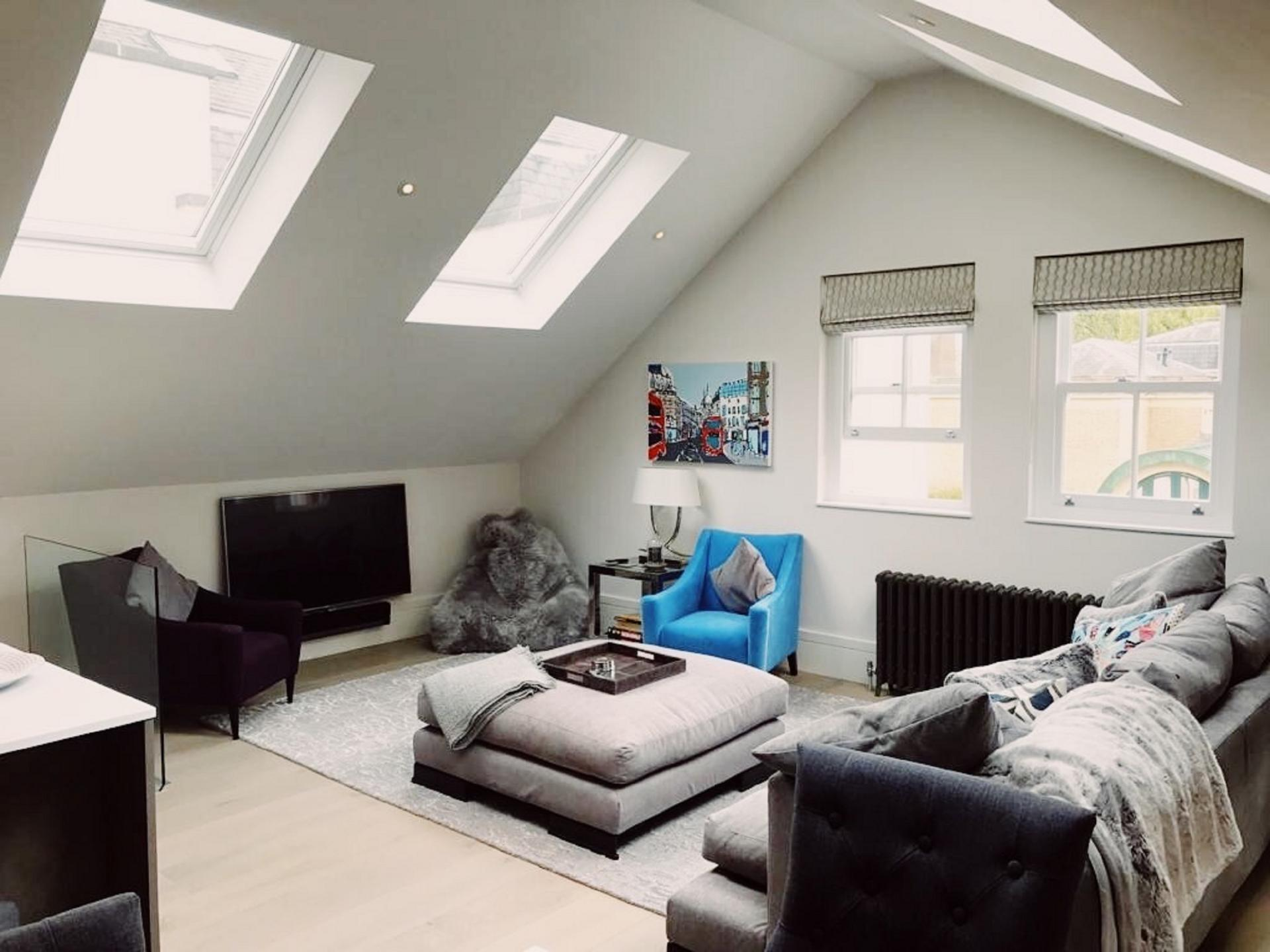 Open plan living area at Old Chelsea Apartment, Chelsea, London