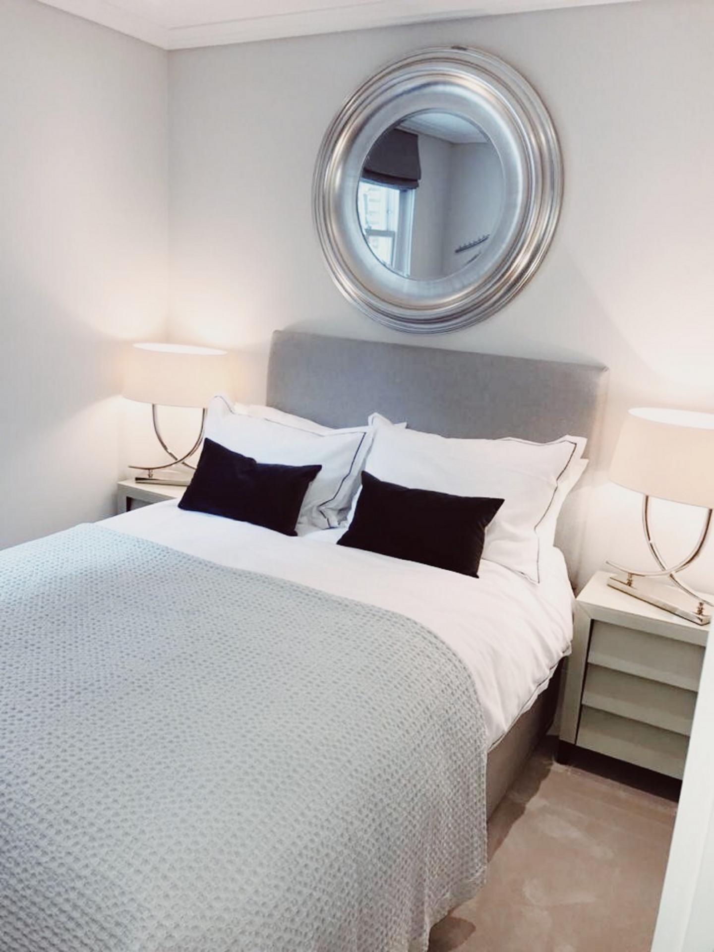 Bright bedroom at Old Chelsea Apartment, Chelsea, London
