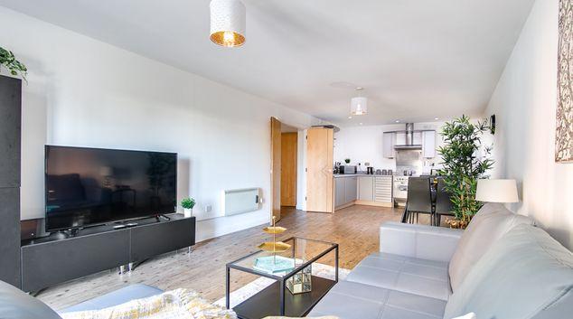 Living area at The Zen Apartments, Jewellery Quarter, Birmingham