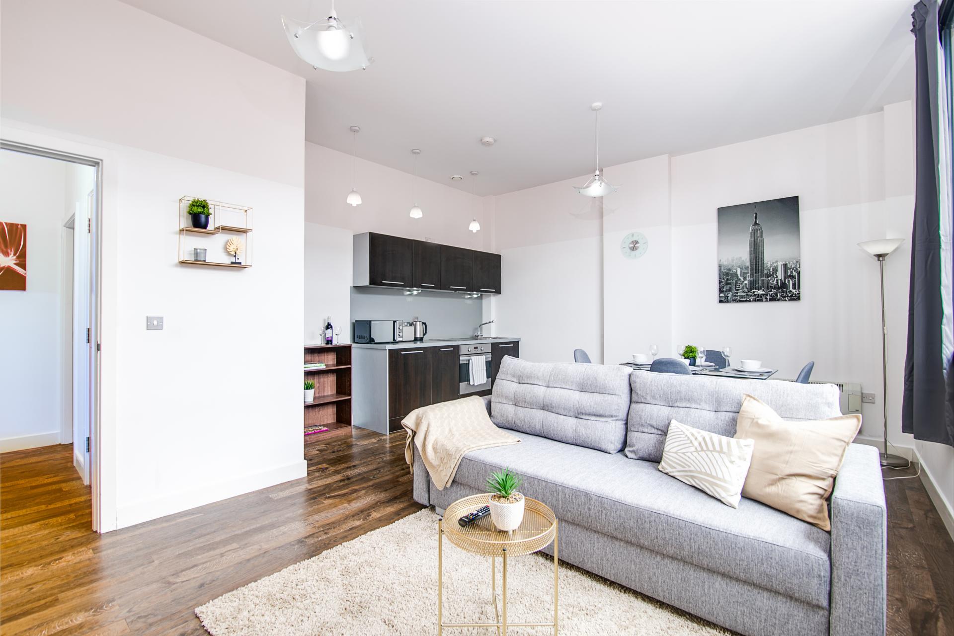 Living area at The Gem Apartment, Jewellery Quarter, Birmingham