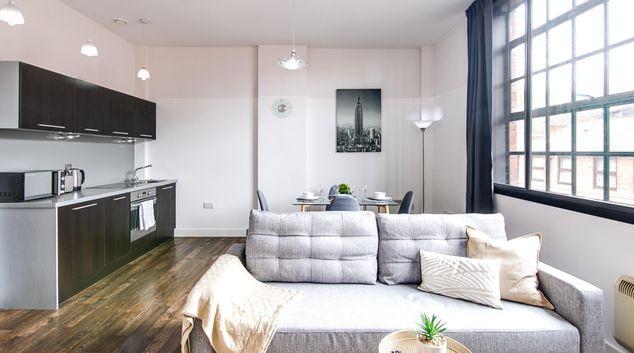 Open plan living at The Gem Apartment, Jewellery Quarter, Birmingham