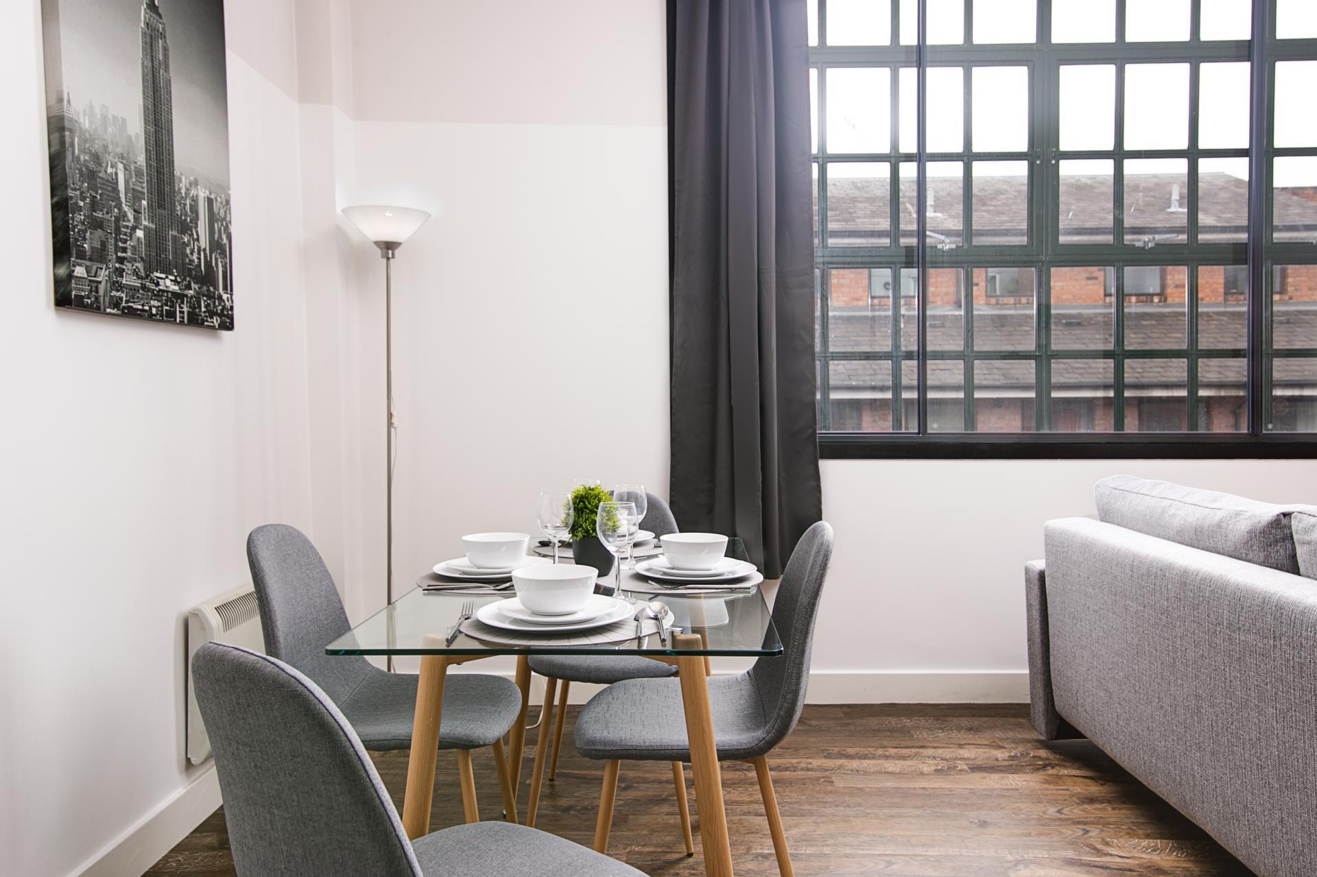 Dining at The Gem Apartment, Jewellery Quarter, Birmingham